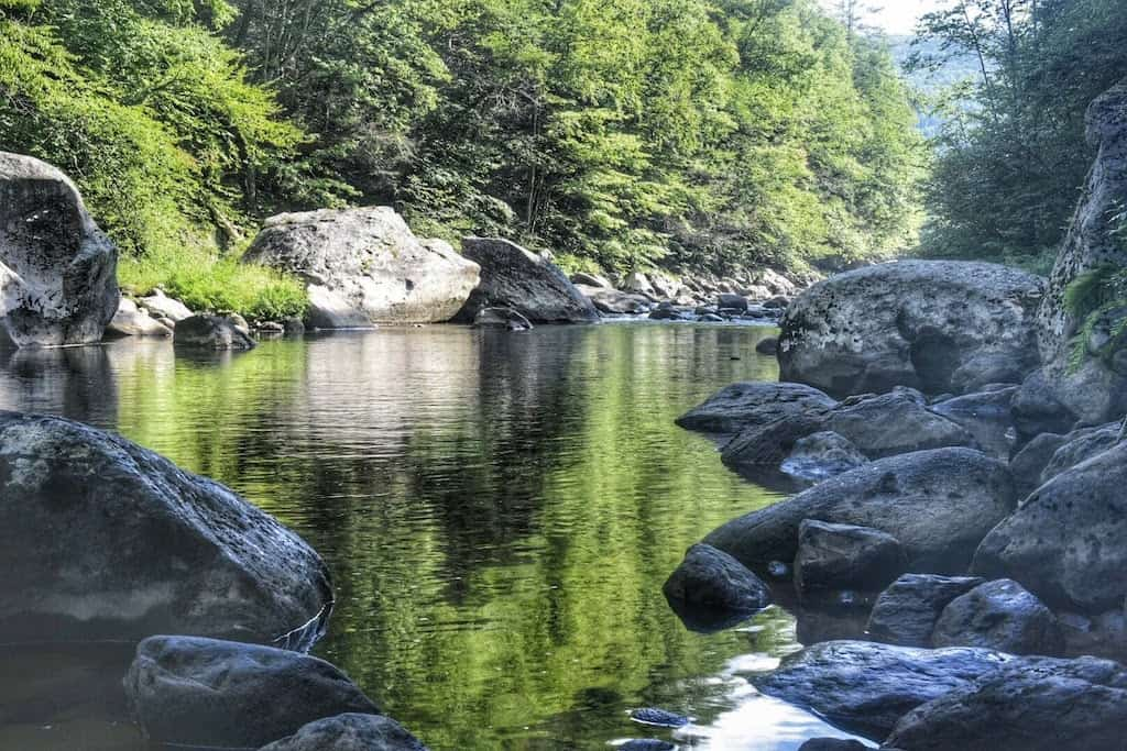 An early morning view of the West River in Jamaica State Park in Vermont.