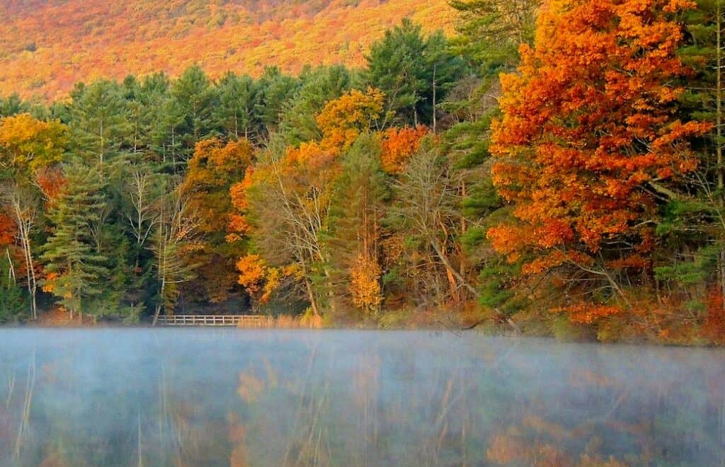 Lake Shaftsbury during fall foliage in Vermont