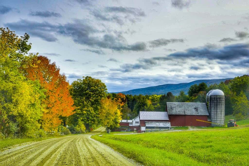 A dirt road in Pownal, Vermont during the fall foliage season.