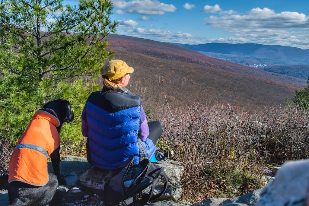 Me and Flynnie looking out over the view from the top of Pine Cobble in Williamstown, MA.