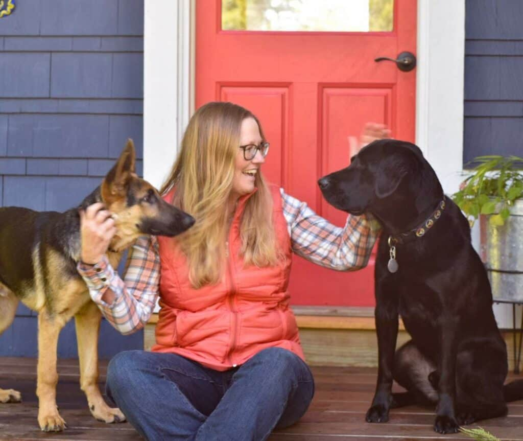Tara with two dogs