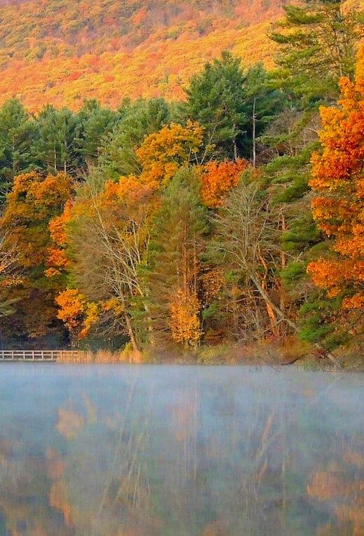 Fall foliage surrounding Lake Shaftsbury in Vermont.