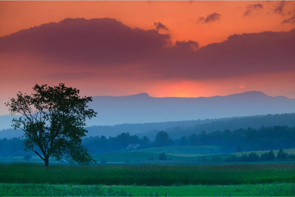 Sunset over Mt. Mansfield in Stowe, Vermont.