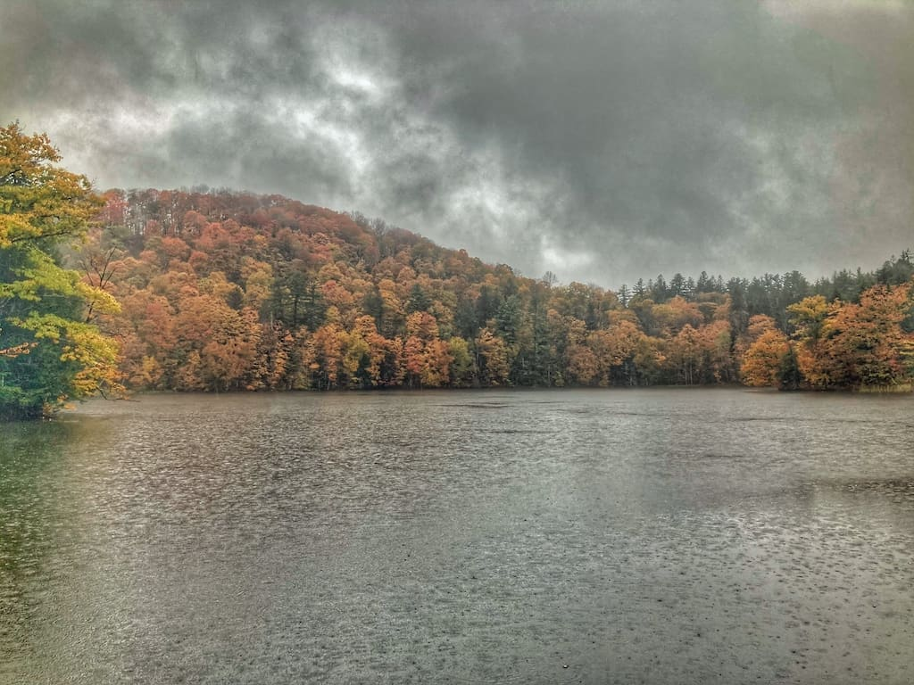 A rainy day on the Pogue in Woodstock Vermont.
