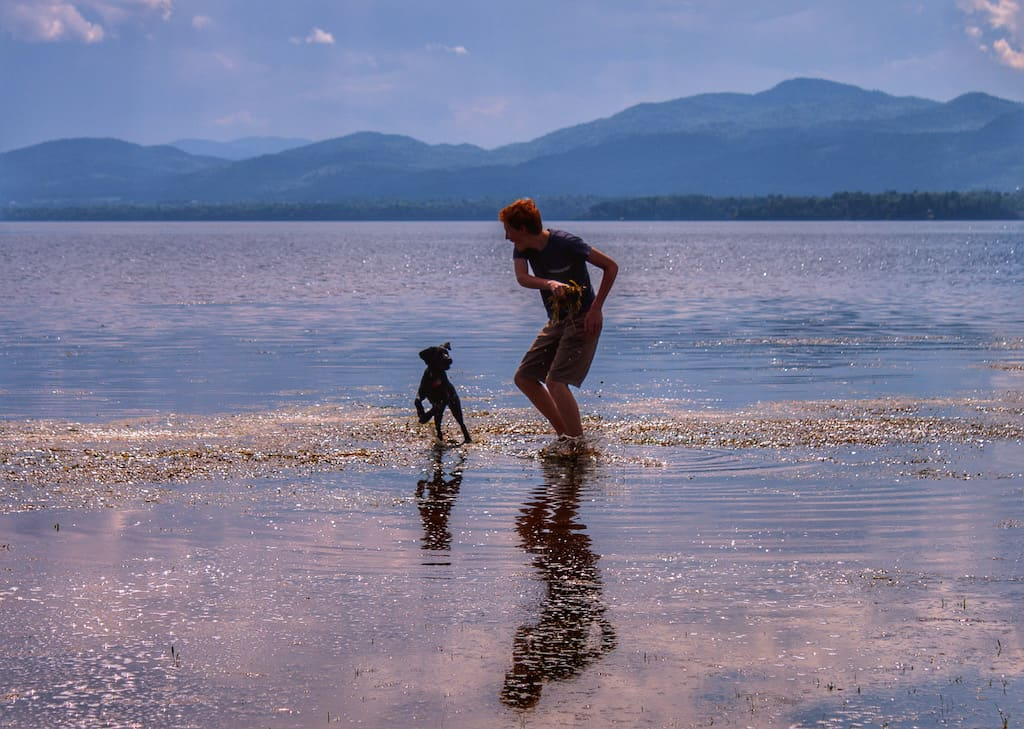 A boy runs through the waters of Lake Champlain with a puppy as the sun sets.