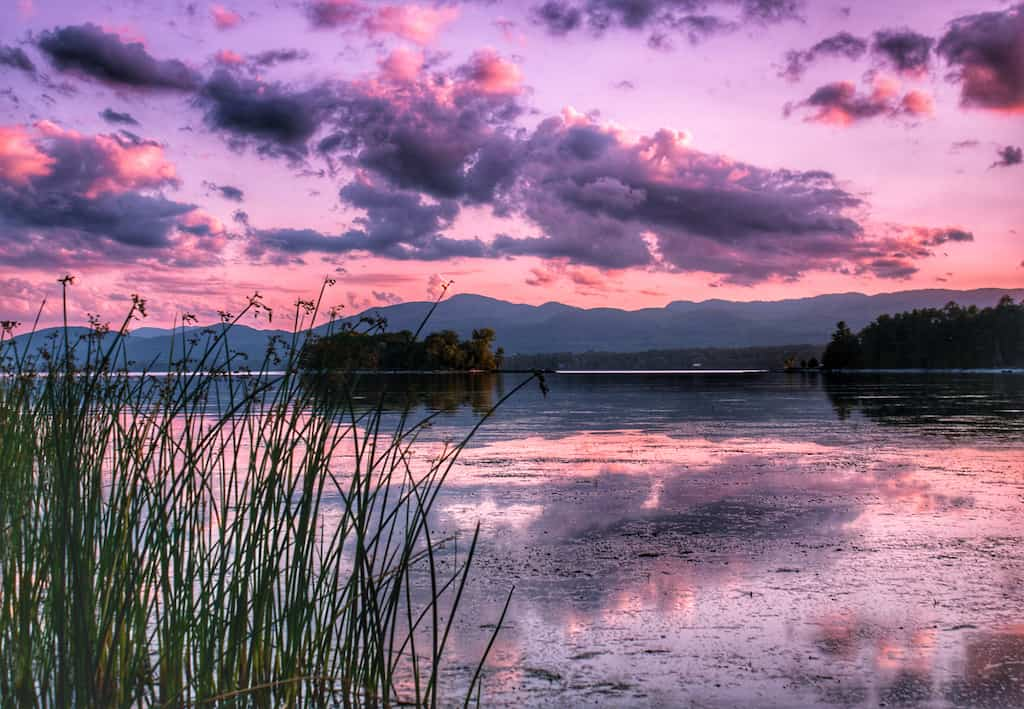 A Lake Champlain sunset from Button Bay State Park.
