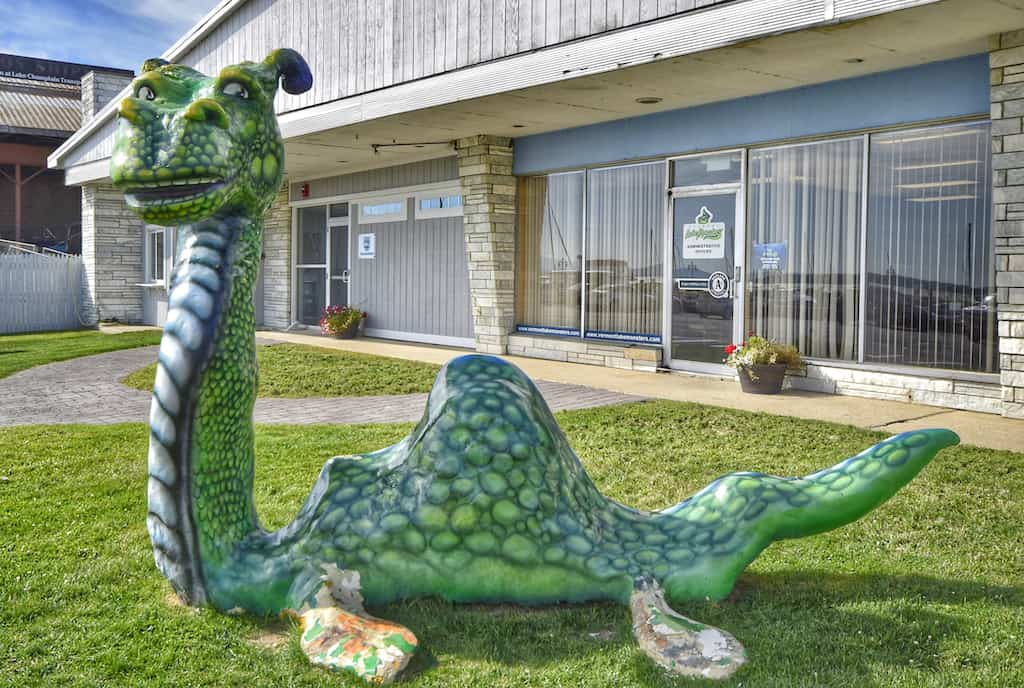 A sculpture of the lake monster, Champ near the Lake Champlain waterfront in Burlington, VT