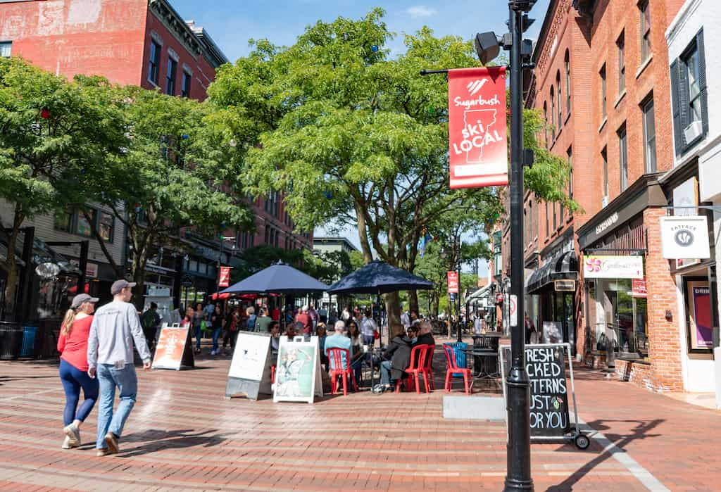 The Church Street Marketplace in Burlington on a summer day!