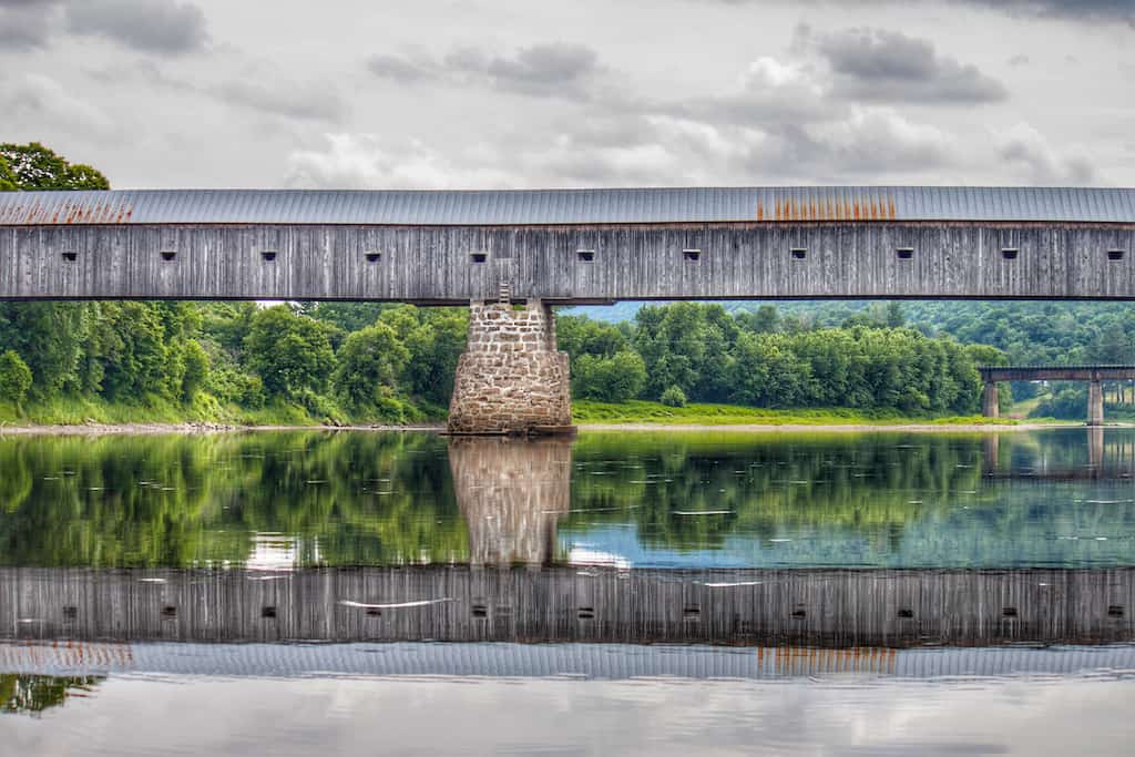 Cornish-Windsor Covered Bridge across the Connecticut River in Vermont.