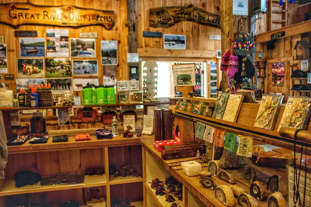 The inside of the store at Great River Outfitters in Windsor, VT.