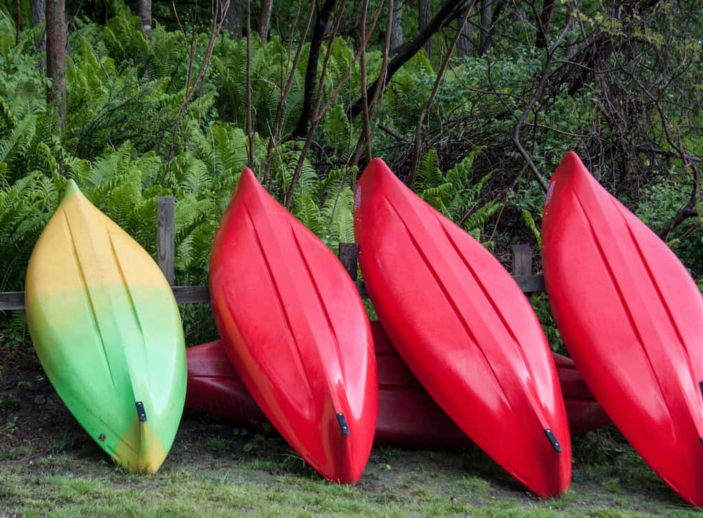 Kayaks for rent in Wilgus State Park in Vermont.