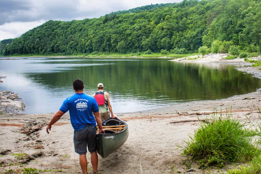 launching our canoe in the Connecticut River.