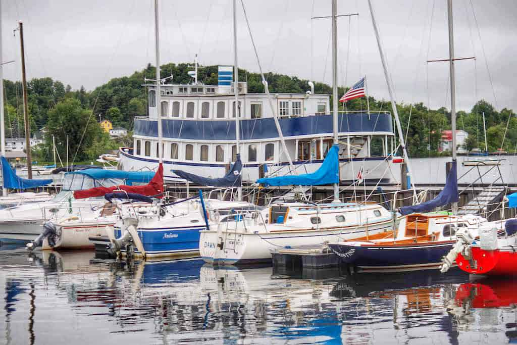 A collection of sailboats at the marina in Newport, Vermont - from a Vermont Route 100 road trip