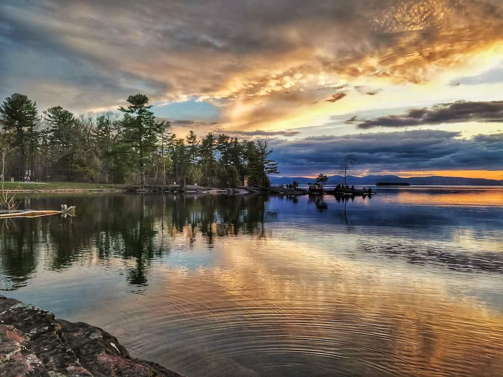 A sunset over Lake Champlain in Burlington, VT