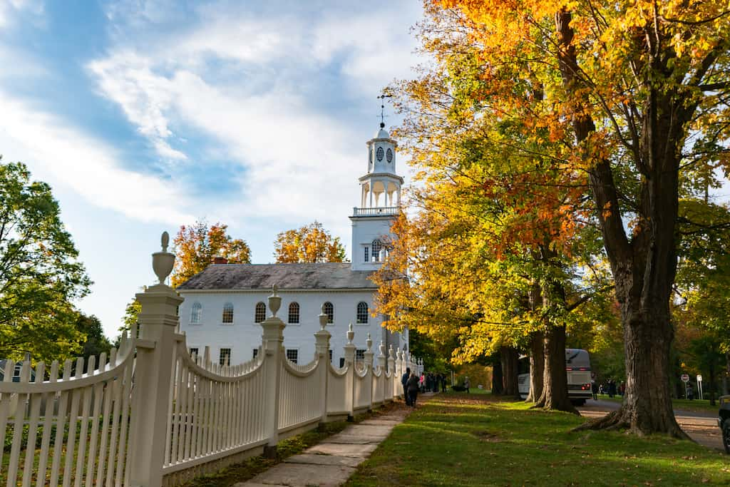 The old first church in Bennington VT in the fall