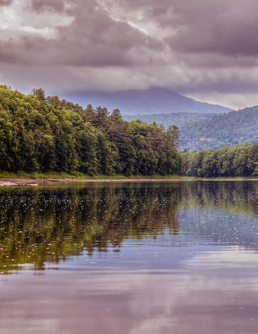 A cloudy view of Mt. Ascutney from the Connecticut River in Windsor, Vermont.