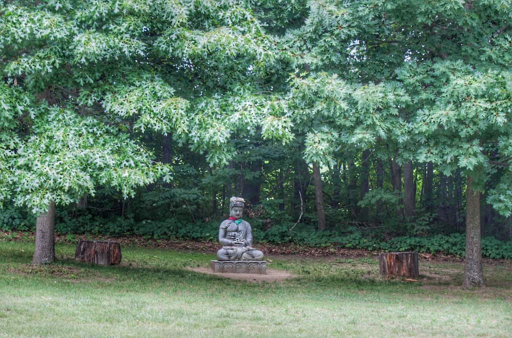 Buddha under trees in the Path of Life Garden in Windsor, VT.