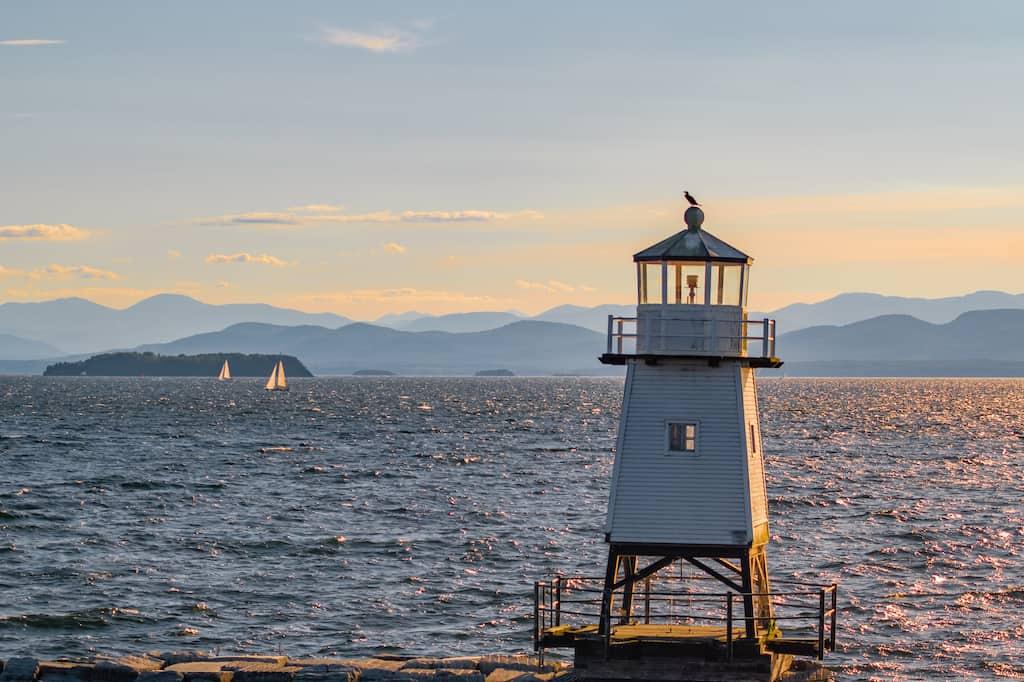 Sunset over the Adirondacks and Lake Champlain from Burlington VT