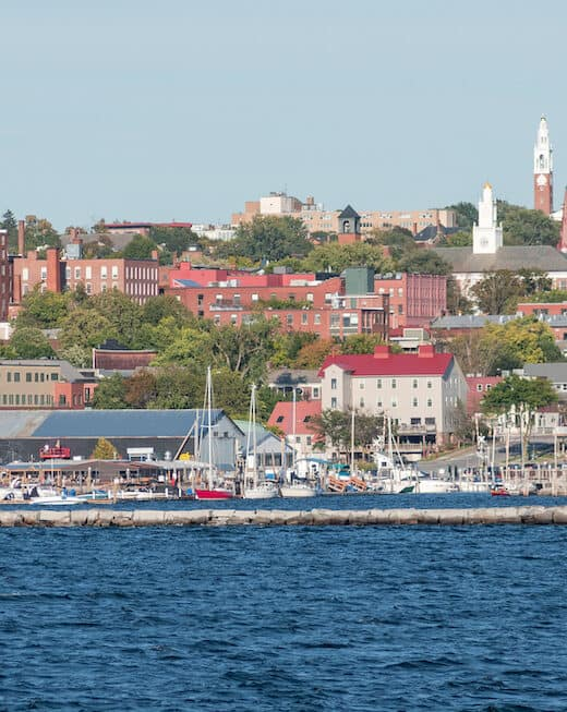 A view of the Burlington VT waterfront from Lake Champlain