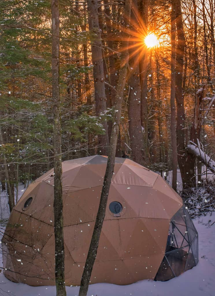 sunset over a geodesic dome in Putney VT