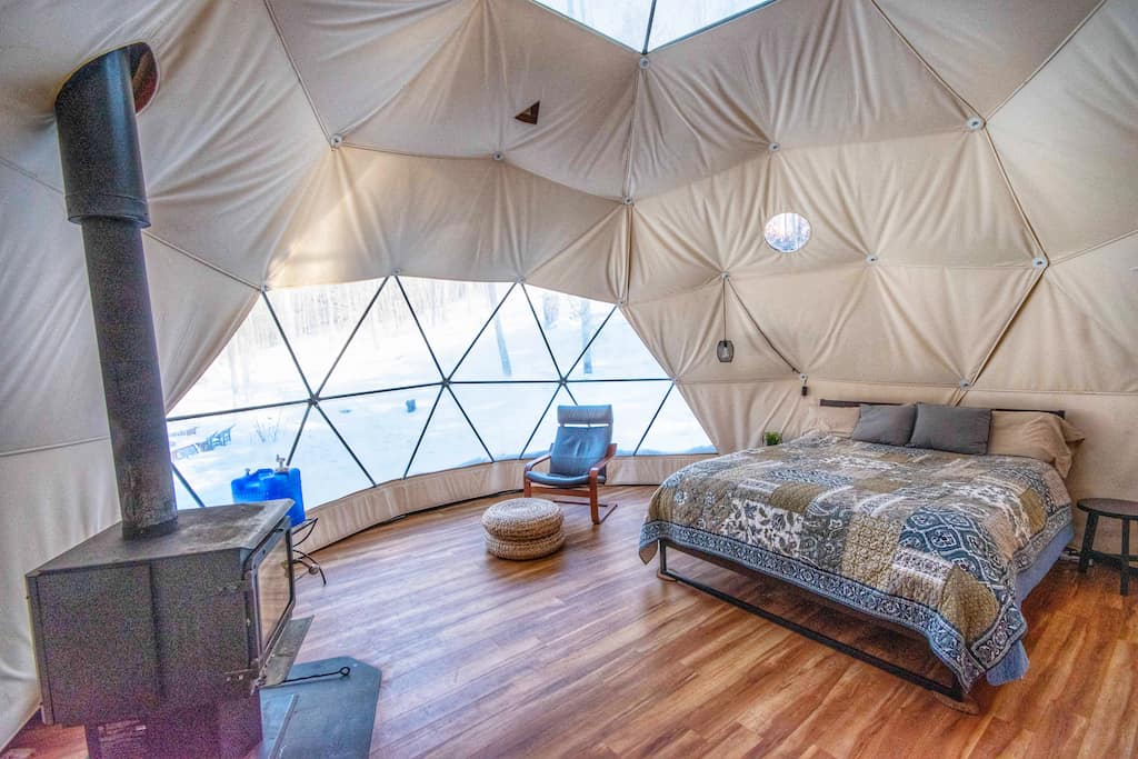 The interior of a geodesic dome for rent in Putney Vermont