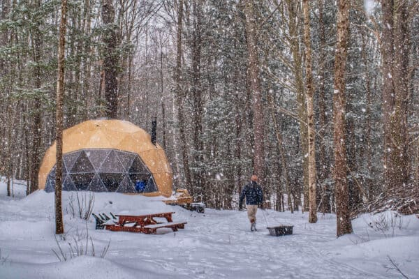 a geodesic dome in Putney Vermont, covered with snow