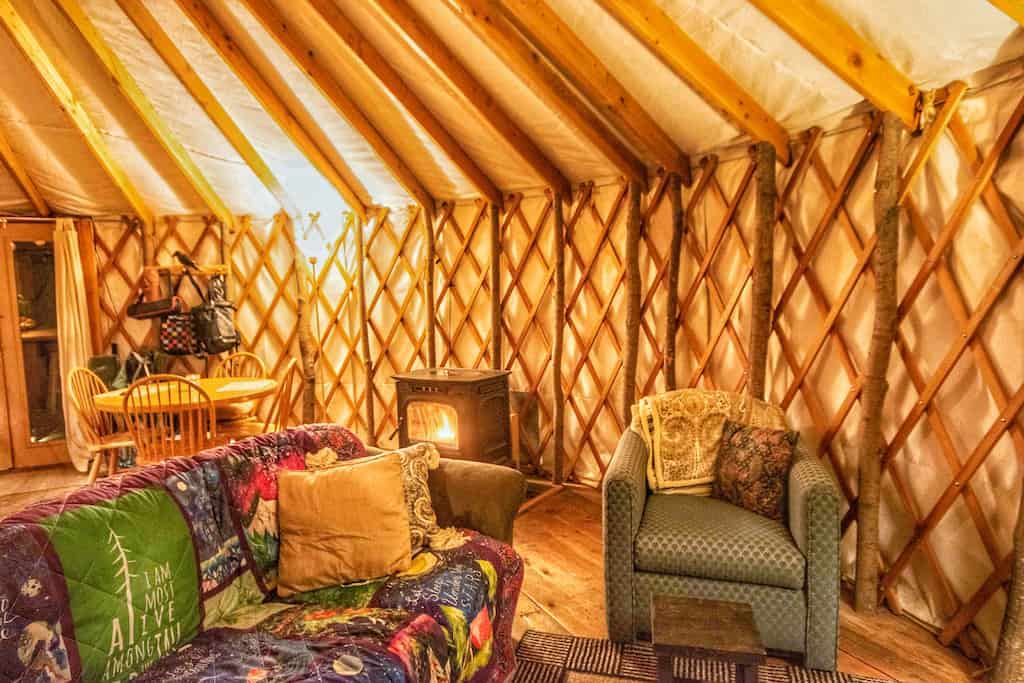 The interior of a yurt for rent in New Haven, Vermont.