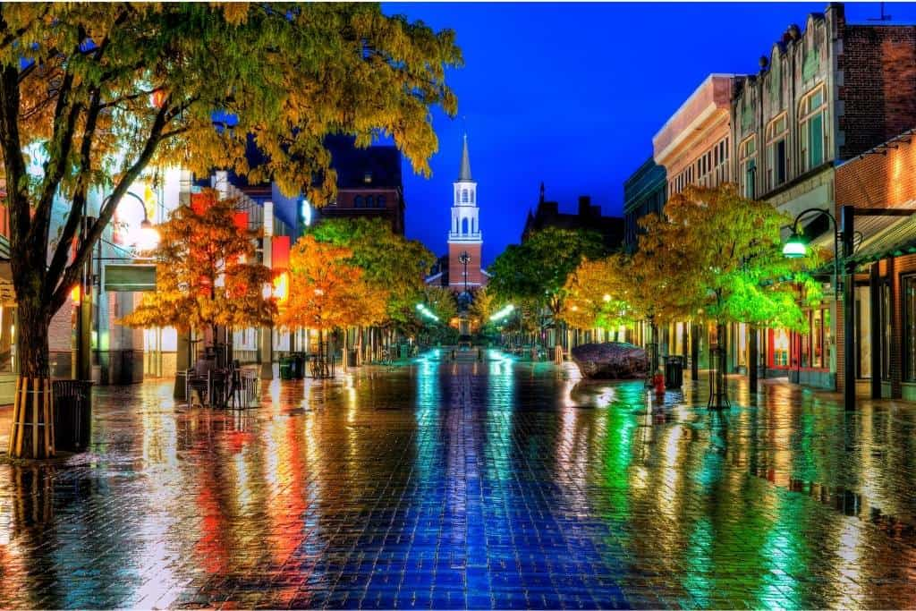 A rainy evening in Burlington, Vermont in the fall.