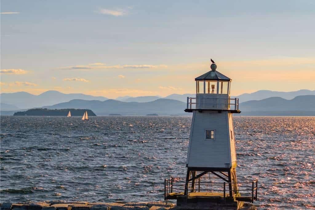 A Lake Champlain sunset from the Burlington waterfront.