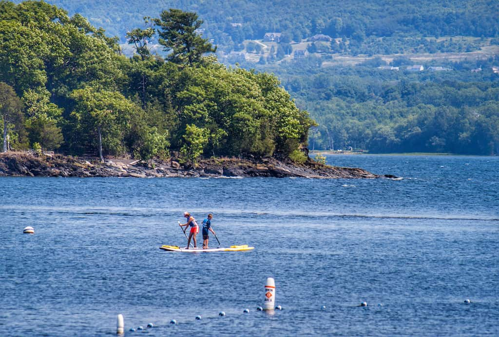 Paddleboarding on Lake Champlain near Burton Island State Park in Vermont.