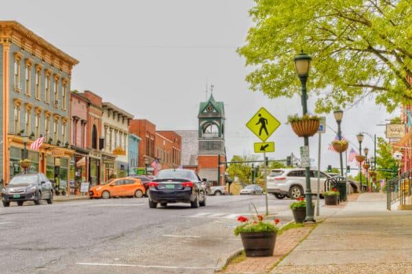Downtown Bristol Vermont on a summer day.