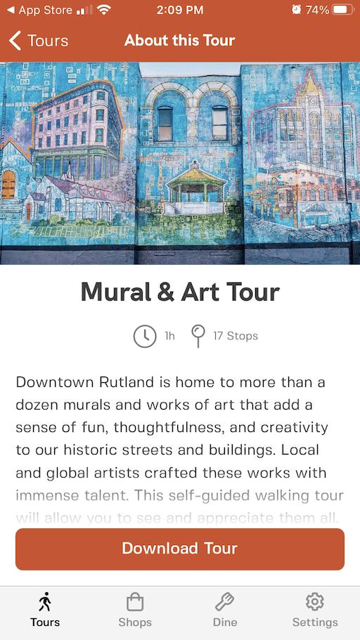 A screenshot of the downtown Rutland Vermont app.