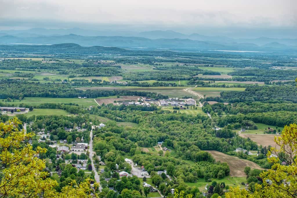 The view of Bristol, Vermont from Bristol Ledges.