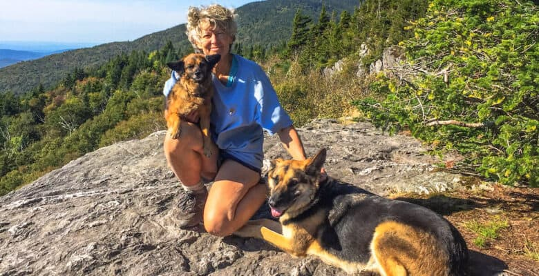 Shirley Harman and her two dogs on Vermont's Long Trail.