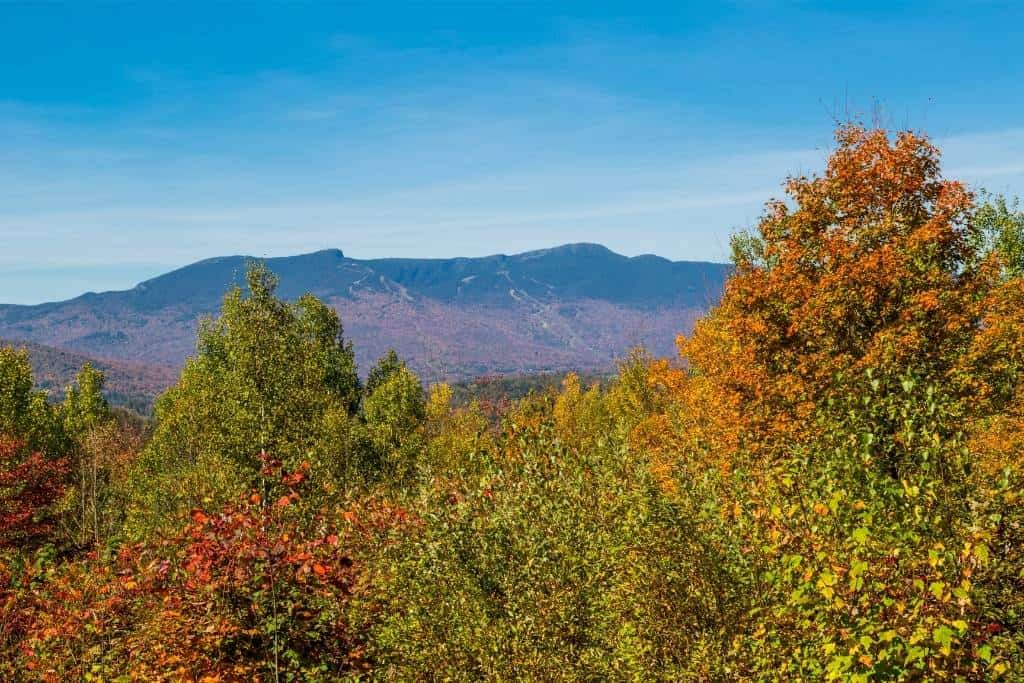 An autumn view of Mt. Mansfield in Vermont.