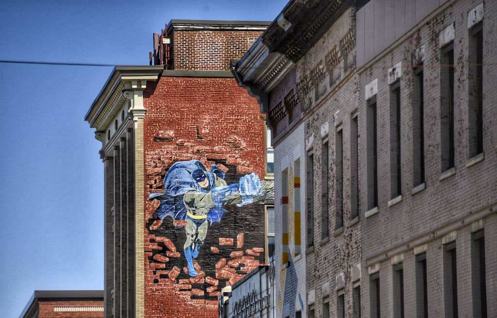 Batman Vs. Griffin mural in Rutland, Vermont.