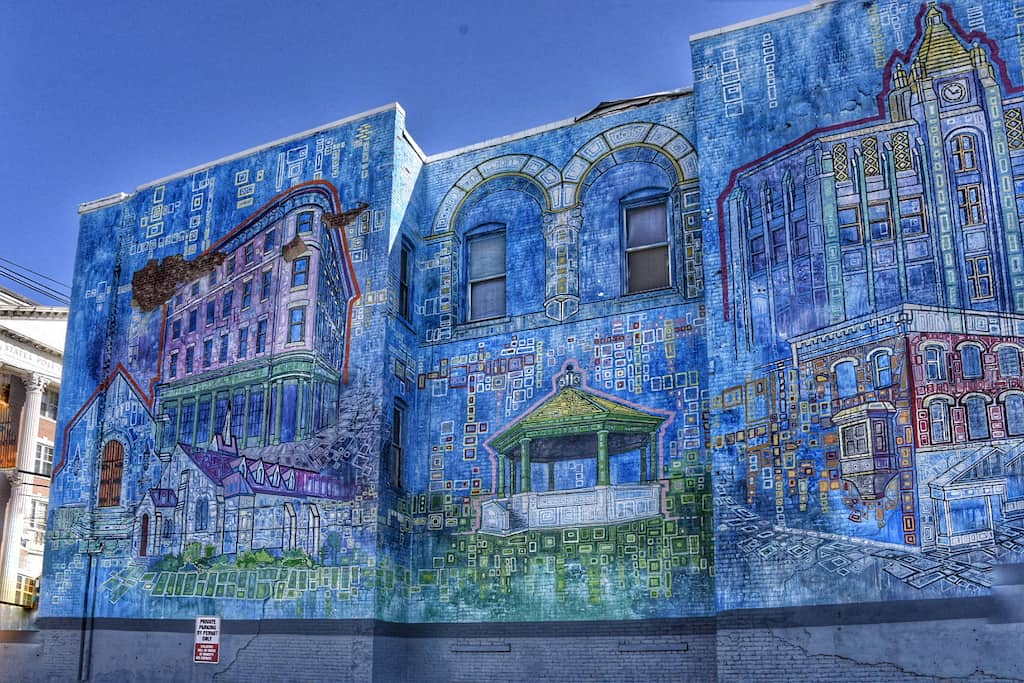 Rutland City Buildings mural in Rutland, Vermont.