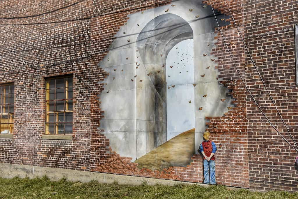 The Hidden Tunnel, one of the many murals in downtown Rutland, Vermont.