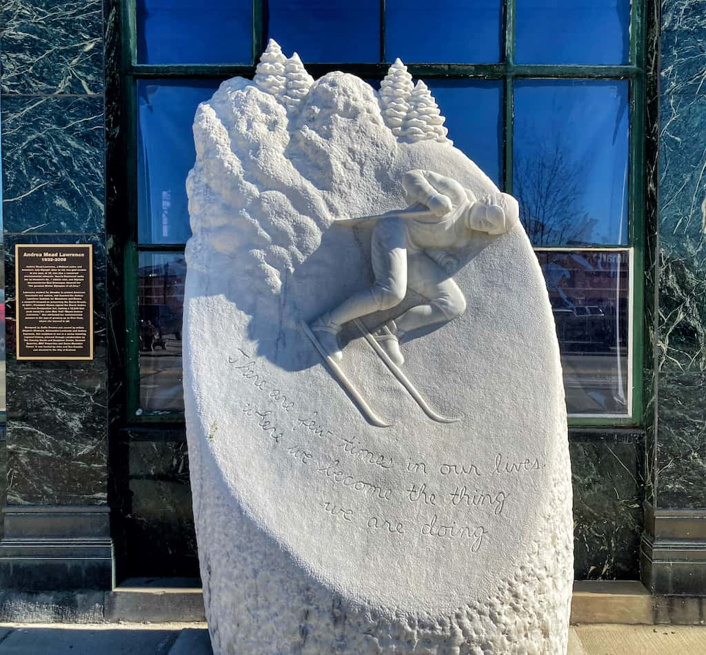 A sculpture of skier Andrea Mead made of marble in Rutland, Vermont.