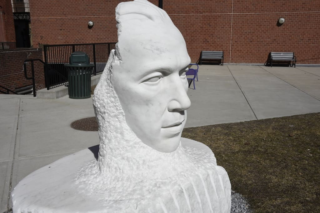 A marble sculpture in Rutland, Vermont - featuring Bill Wilson, the founder of Alcoholics Anonymous.