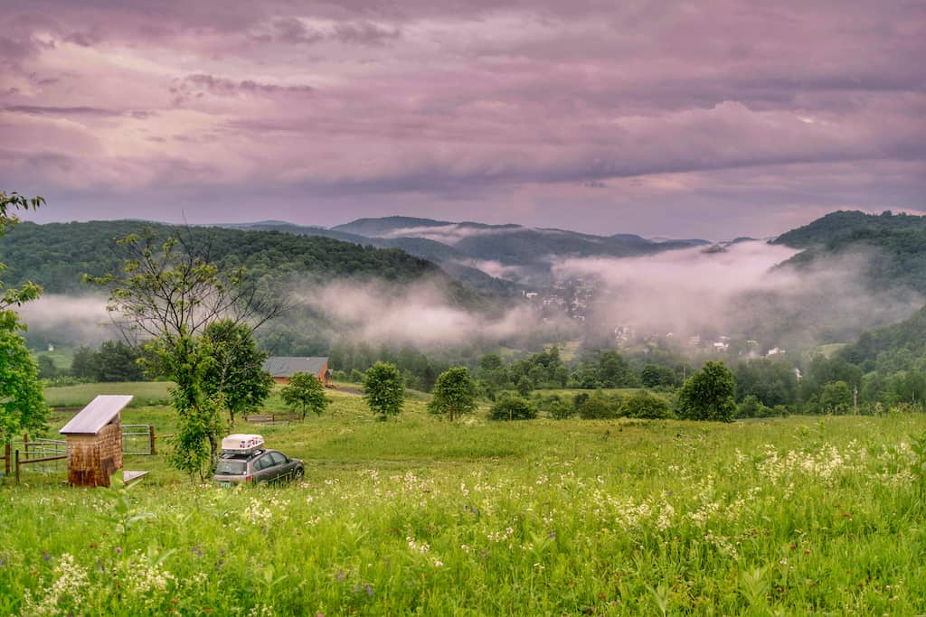 The view from our farm camping site at Free Verse Farm in Vermont.