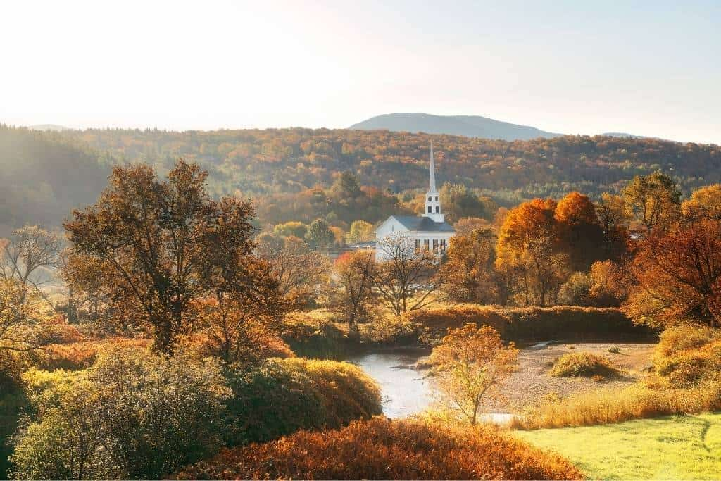 An autumn view of the church in Stowe, Vermont.