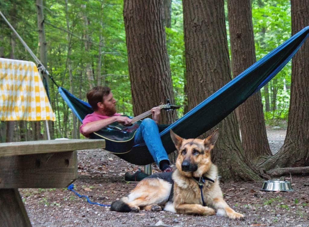 Eric plays the guitar in our camping hammock while Ogden the German Shepherd lies nearby.