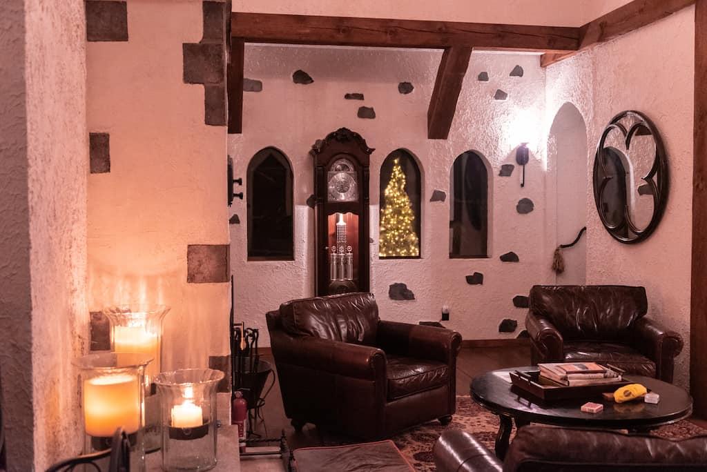 The main living room in Gregoire Castle in Irasburg, VT