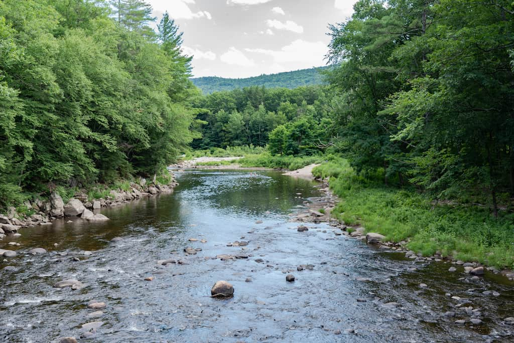 Summer view of the West River in Jamaica State Park Vermont.