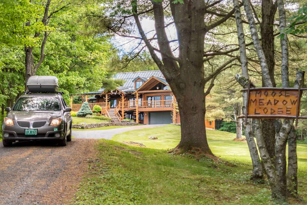 The driveway and entrance to Moose Meadow Lodge in Waterbury, Vermont.