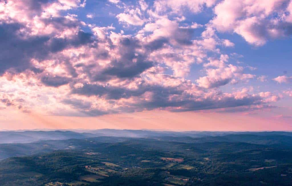 Sunset vista from the top of Mt. Ascutney.