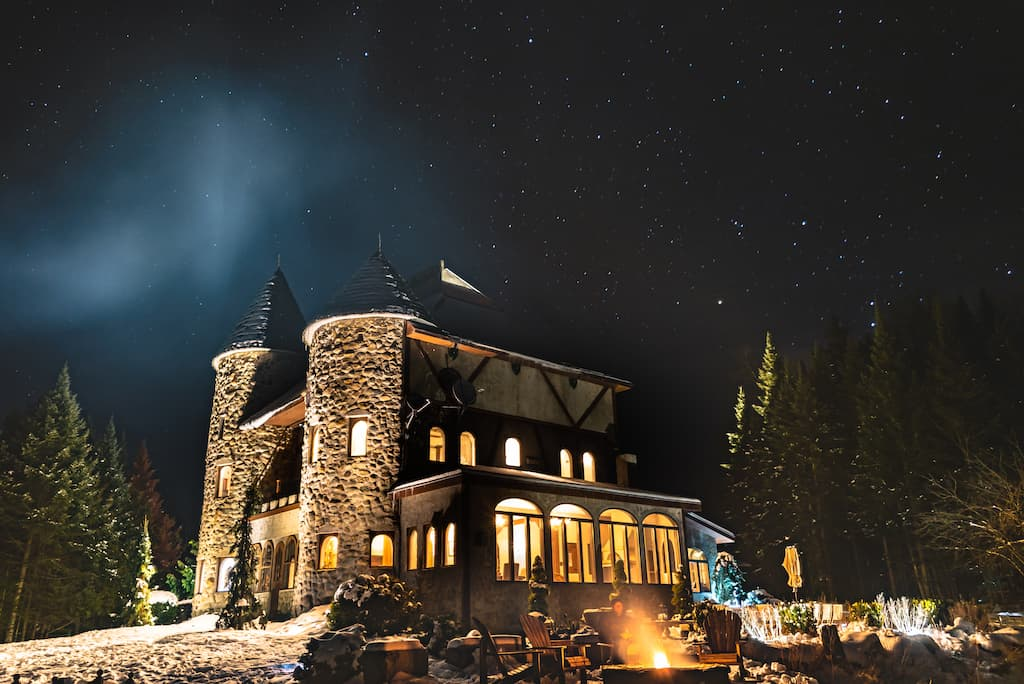A night shot of the Gregoire Castle in Irasburg, Vermont