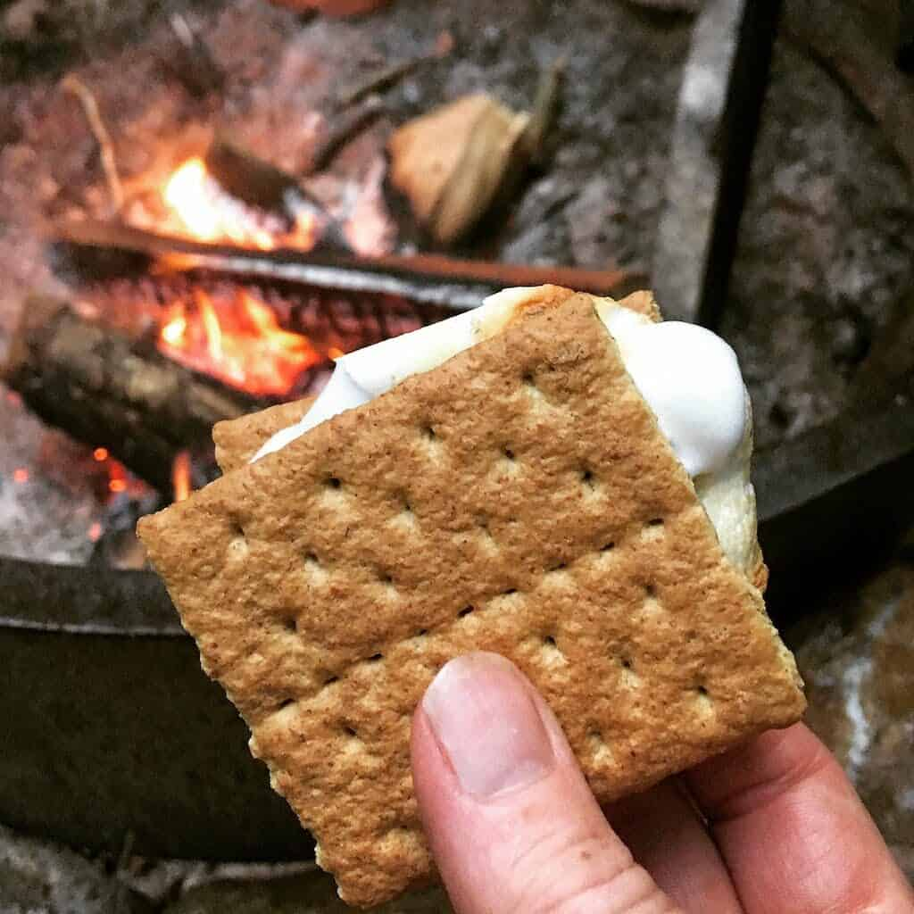 a close up of a s'more near a campfire in Jamaica State Park Vermont.