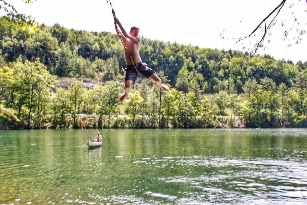 The rope swing at Emerald Lake State Park in Vermont.